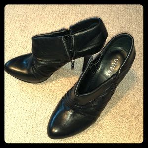 GUESS Black Leather Stiletto Bootie